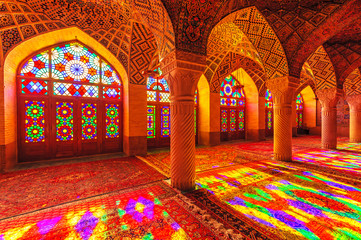 An Interior view of Nasir Al-Mulk Mosque in Shiraz, Iran