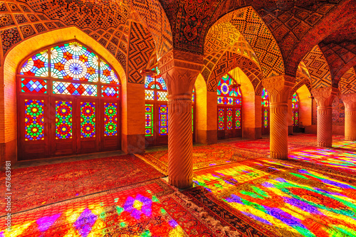 Fotobehang Midden Oosten An Interior view of Nasir Al-Mulk Mosque in Shiraz, Iran