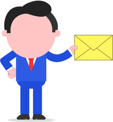 Businessman Holding Mail Envelope