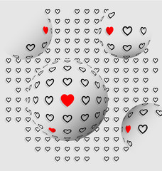 Halftone hearts abstract background