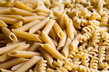 Italian pasta Penne, Fusilli