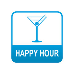 Etiqueta tipo app azul HAPPY HOUR