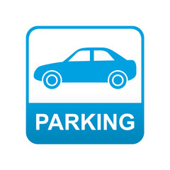 Etiqueta tipo app azul PARKING para coches
