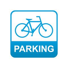 Etiqueta tipo app azul PARKING para bicicletas