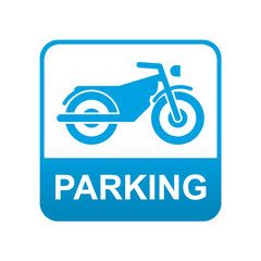 Etiqueta tipo app azul PARKING para motos