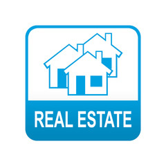 Etiqueta tipo app azul REAL ESTATE