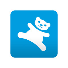 Etiqueta tipo app azul simbolo osito de peluche