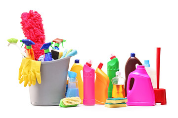 Bunch of cleaning products on white background