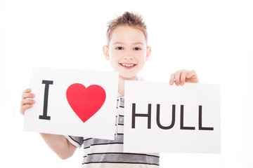 Boy with Hull city sign