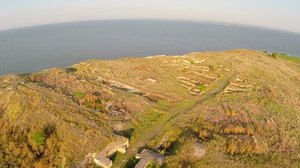 Dolojman Cape and Argamum fortress in Dobrogea, Romania (aerial)