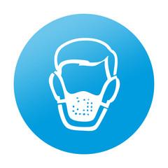 Etiqueta redonda mascara respiratoria