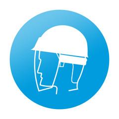 Etiqueta redonda proteccion para ojos