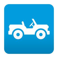 Etiqueta tipo app azul simbolo jeep