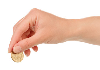Hand with coin