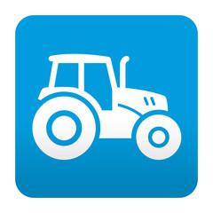 Etiqueta tipo app azul simbolo tractor