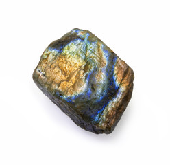 Colorful raw labradorite rock isolated on white.