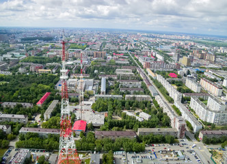 Aerial view on Tyumen city with TV tower. Russia