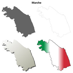 Marche blank detailed outline map set