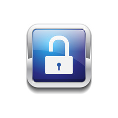 Unlock Rounded Corner Square Blue Vector Web Button Icon