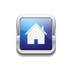 Home Rounded Corner Square Blue Vector Web Button Icon