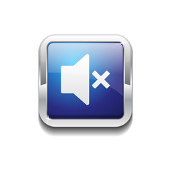 Mute Rounded Corner Square Blue Vector Web Button Icon