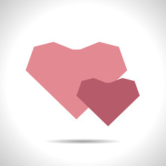 Vector two hearts icon. Eps10