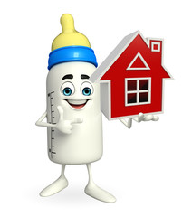 Baby Bottle character with home