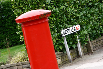 Post box and street sign London
