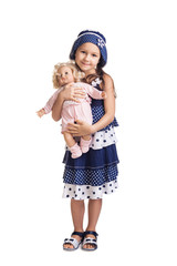 The small beautiful girl with a doll