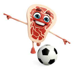 Meat steak character with football
