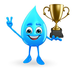 Water Drop Character with trophy