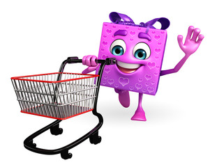 Gift Box Character with trolley