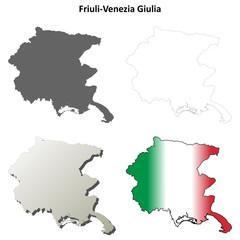 Friuli-Venezia Giulia blank detailed outline map set