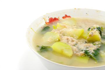 mixed vegetable soup isolate on white background