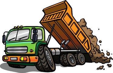 Cartoon Tipper Truck. Isolated