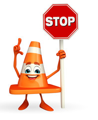 Construction Cone Character with stop sign