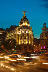 Alcala and Gran Via street in Madrid at night
