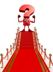 Question Mark character with red carpet