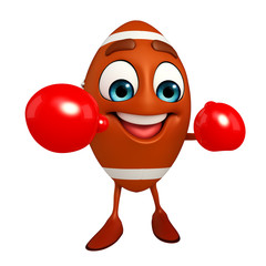 Rubgy ball character with Boxing Gloves