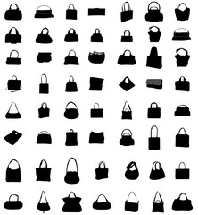 Black Icons Female Bags. Vector Collection