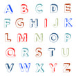 hand drawn colorful font