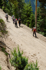Group of people hiking (Kaçkar Mountain National Park)