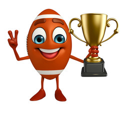 Rubgy ball character with trophy