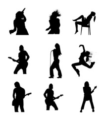 Girl With Music Icon Symbol Silhouettes