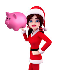 Santa Girl Character with piggy bank