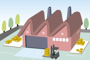工場とフォークリフト