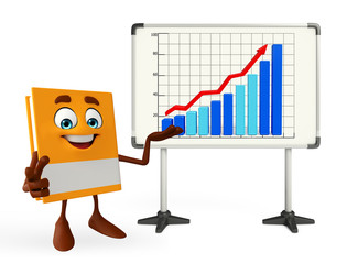 Book Character with business graph