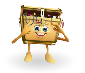 Treasure box character is thinking