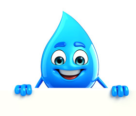 Water Drop Character with sign