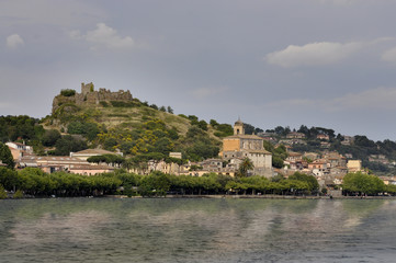 Trevignano Romano with ruined Orsini castle in the top.